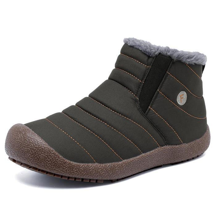 Et Bottes de neige en fourrure d'hiver Bordée d'extérieur Glissement Chaussures Bottines ZKOAJ Taille-39 0f6oz85dJV