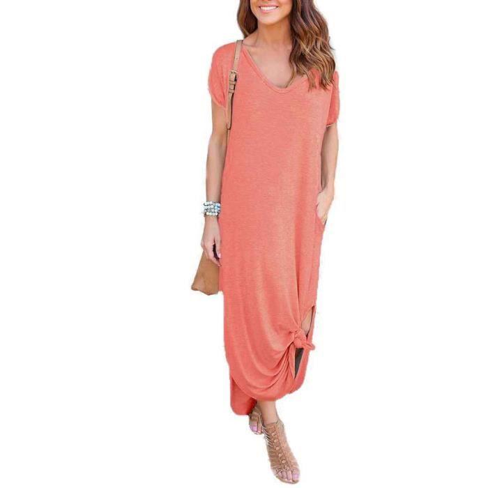 Boho Beach Robes Split Manches Courtes Décontracté Étage Sundress Rose L