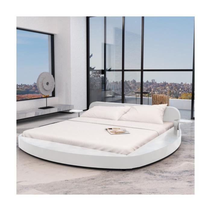 superbe cadre de lit en pu rond avec deux tablettes 180 x 200 cm achat vente structure de. Black Bedroom Furniture Sets. Home Design Ideas