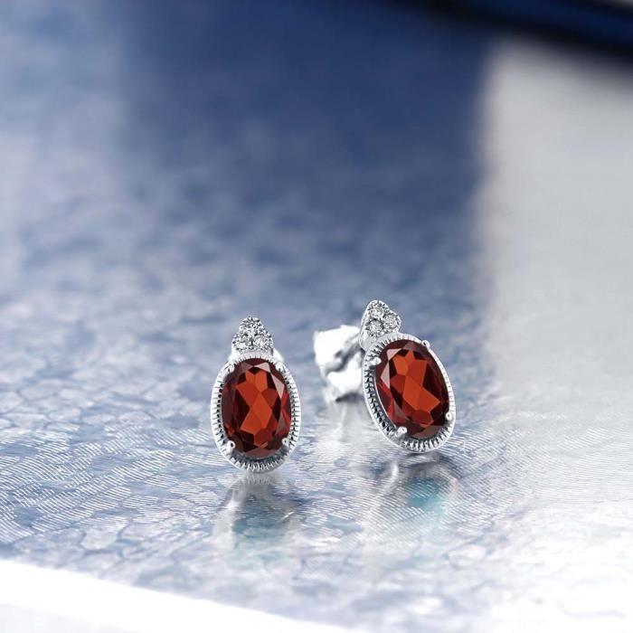 Boucles Doreilles En Or Blanc 10k - Grenat ovale et Diamant - 1.03 ct