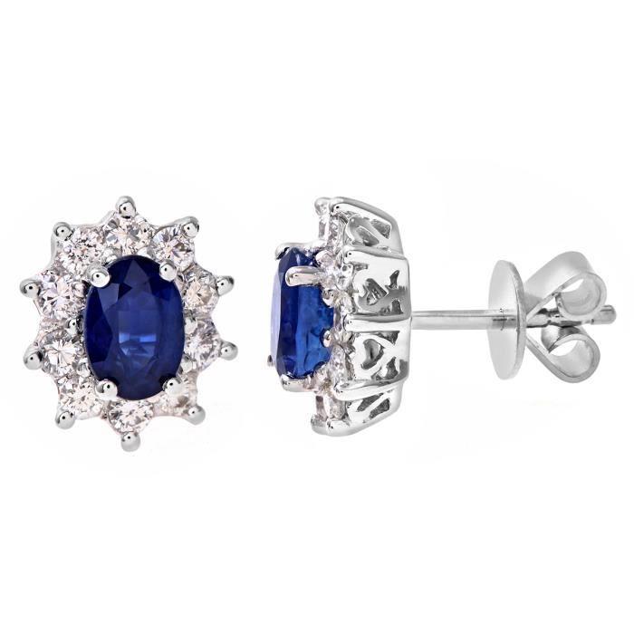 Revoni - Boucles d'oreilles en or blanc 18 carats, saphirs et pavage diamants - REVCDPE03899WSA