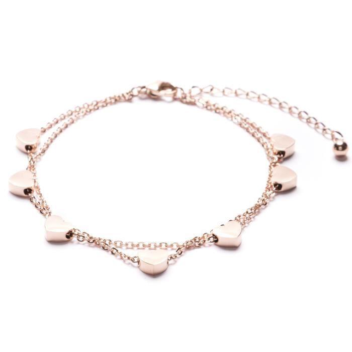 Womens Delicate Bracelet Heart Charms In Rose Gold | Double Stranded Bracelet GQ0XE