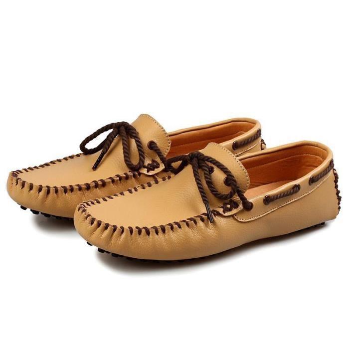Mode Hommes Mocassins Respirant action Chaussures en cuir Flats hommes d'été Printemps Souliers simple pour homme Sapatos,jaune,10