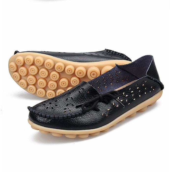 Leather Moccasins Loafers Driving Casual Shoes Indoor Flat Slip-on Slippers ZO1BC Taille-39 1-2