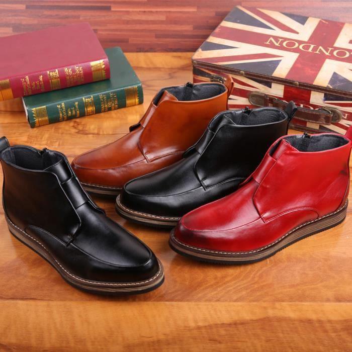 hommes martin bottes bottes en cuir souple Brune