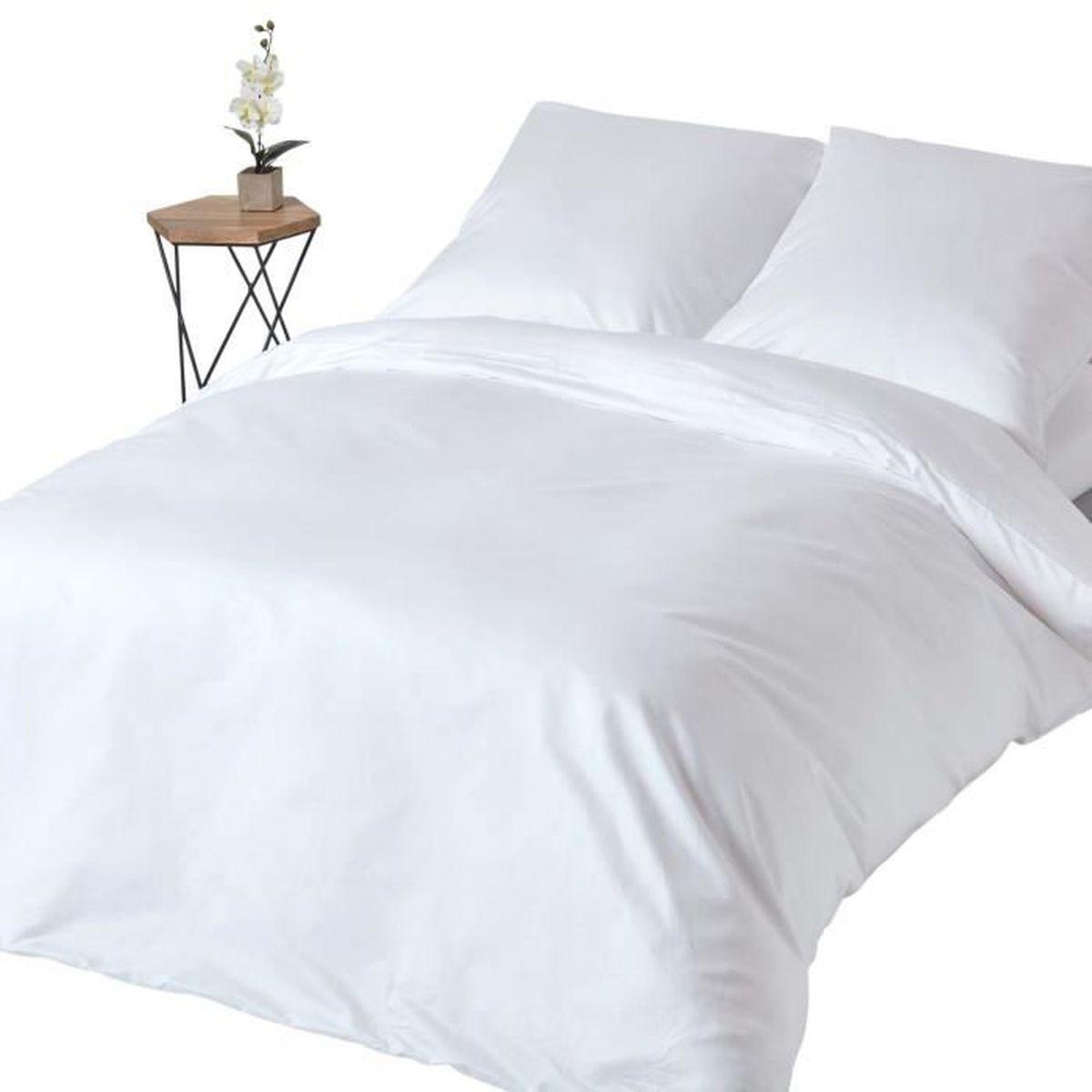 Parure De Lit Blanc 100 Coton Egyptien 1000 Fils 240 X 220 Cm