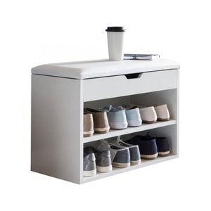 MEUBLE À CHAUSSURES Meuble à chaussure Banc avec assise blanc 60 x 40