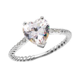 BAGUE - ANNEAU Bague Femme 10 Ct Or Blanc Diamant Et 3 Ct Cœur Ox