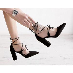 ESCARPIN Escarpins Chaussures Pour Soirée En Daim Épais Ave 0312c06b81a3
