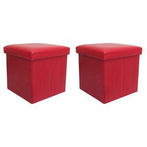 COFFRE - MALLE BUGGY Lot de 2 poufs coffres de rangement pliables