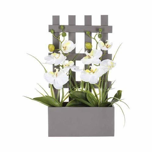 Orchid es artificielles en pot bois h 41 cm achat - Arrosage orchidee en pot ...
