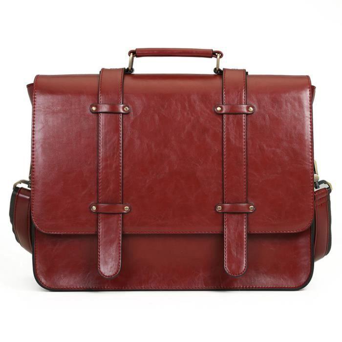 5b1b171920 ECOSUSI Sac Cartable Vintage Sac Porté Epaule Sac à Main Rétro pour Femme  Sac pour Ordinateur Portable 14.7'' 37x29x10cm Rouge