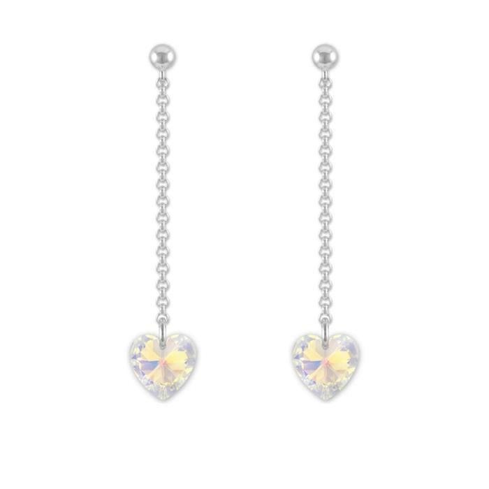 Boucles dOreilles Clous Argent 925 Coeur 10mm Swarovski Element - Crystal AB