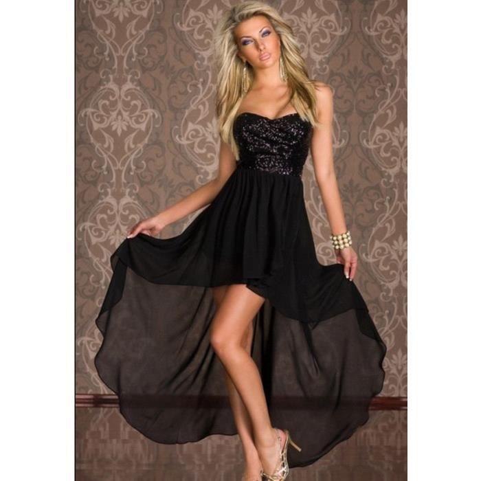 Robe de soiree noir asymetrique