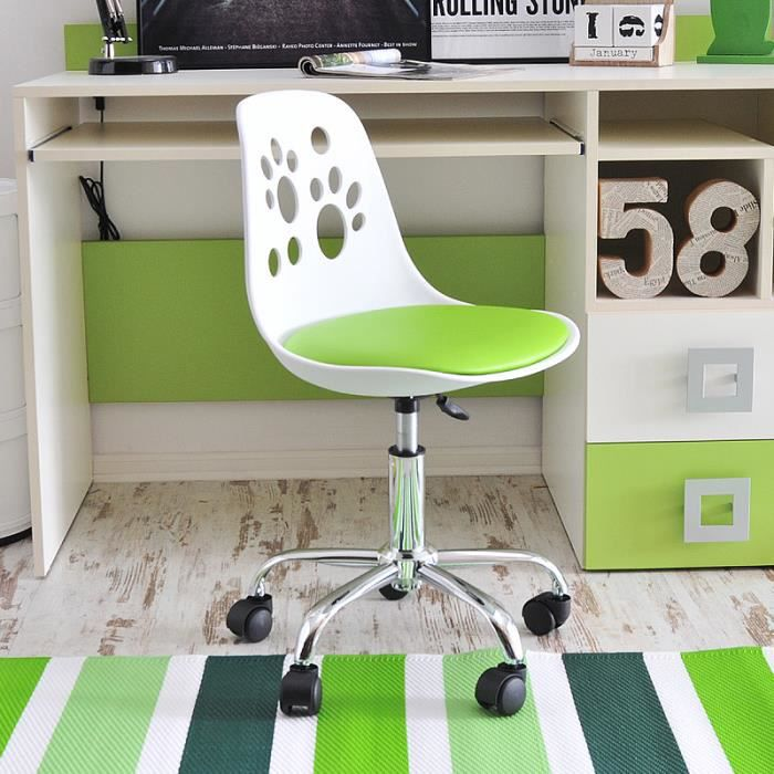 Blanc Design Foot De Chaise Fauteuil D'enfant 40 Pivotant Cm Vert Réglable Moderne Bureau FK51l3uTJc
