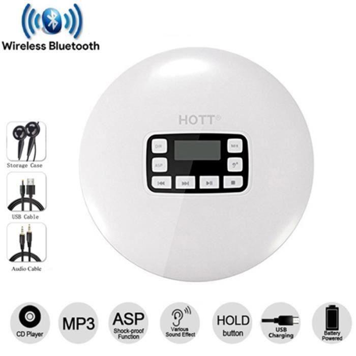 Lecteur Cd Portable Bluetooth Écran Lcd Écouteurs Stéréo Avec Usb Écouteur De Musique Walkman Baladeur Blan W436