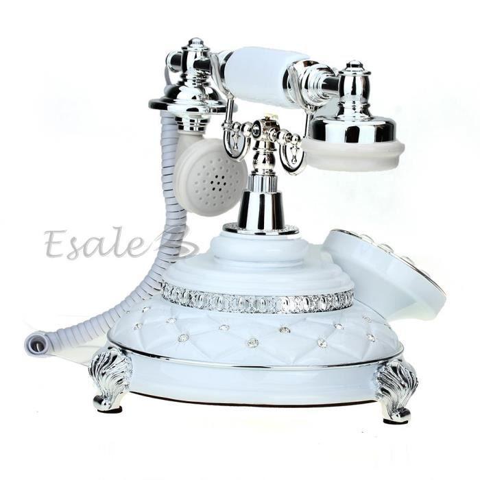 Téléphone Fixe Fil Filaire Résine Rétro Vintage avec Combiné Décoration  Maison 6cef679186ce