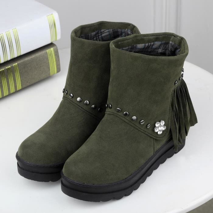 bottes courtes-Pure Color Toe ronde Femmes Flat...