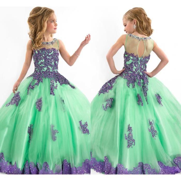 Vert Robe de fille de fleur Baptême Anniversaire Fête Tulle Dentelle Flower Girl Dress Taille 2-14