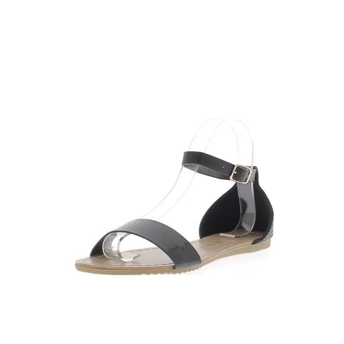 pieds avec bride cheville et Nu cuir croco noirs aspect dq0nYRzf