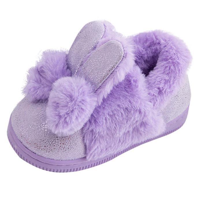 BOTTE Bébé Laine Bowknot Caoutchouc Semelle Souple Bottes de Neige Doux Berceau Chaussures Bottes Tout-Petits@Violet