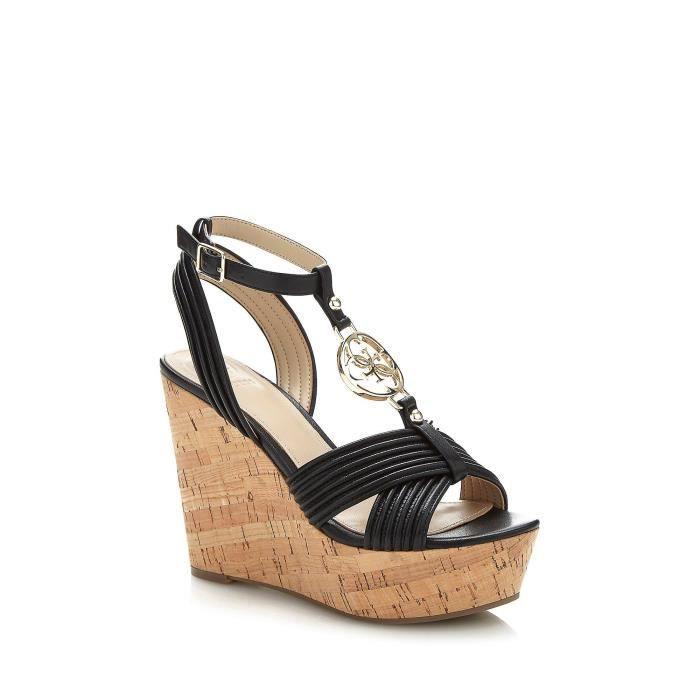 117193343526 Guess Sandales Femme Compensées en cuir Gilian Noir - Taille - 36 ...