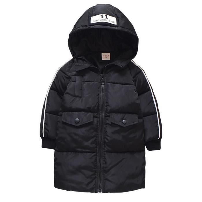 Manteau d'Hiver Enfant Unisexe Veste Doudoune Blouson à Capuche Zippé Imperméable Chaud pour Automne Hiver Grandes Poches
