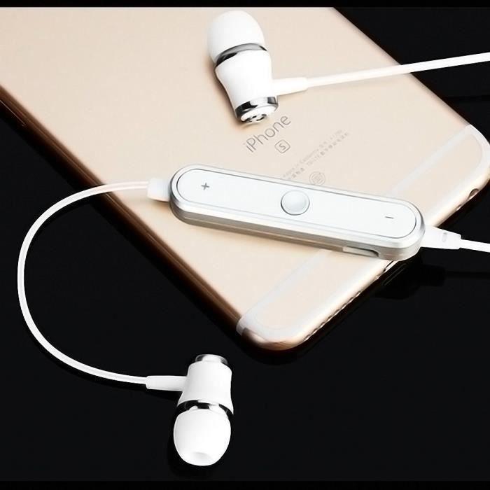 Oem - Ecouteurs Bluetooth Anneau Pour Alcatel 3x Smartphone Sans Fil Telecommande Son Main Libre Intra Aur Couleur:blanc