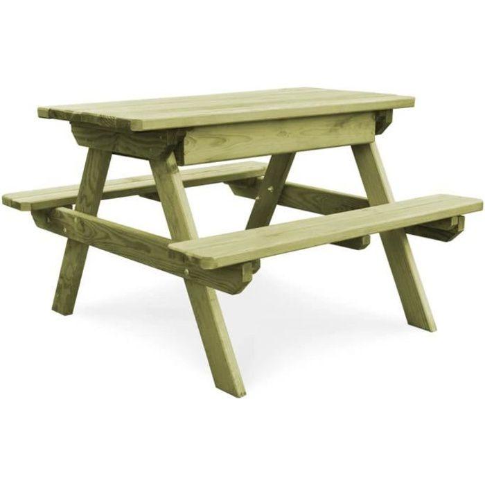 Table de pique-nique avec bancs Bois de pin imprégné FSC