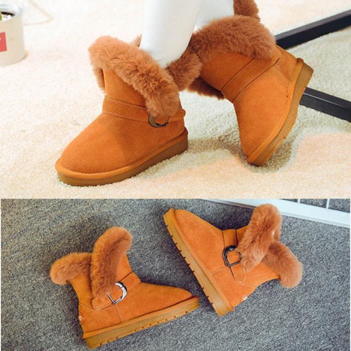 4-16ans Bottes Enfant Fille Fourrées en Cuir Uni Hiver Chaussurs Boots Plates Montants