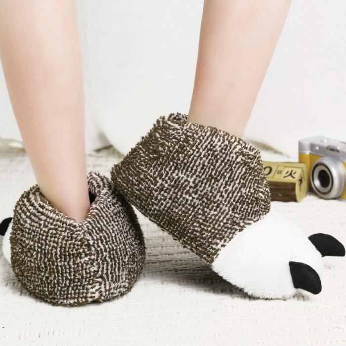 GIFT TOWER Chaussons Femme Homme Pantoufles Hiver Chaud Velours Chaussures Patte Animal Antidérapant geGOz