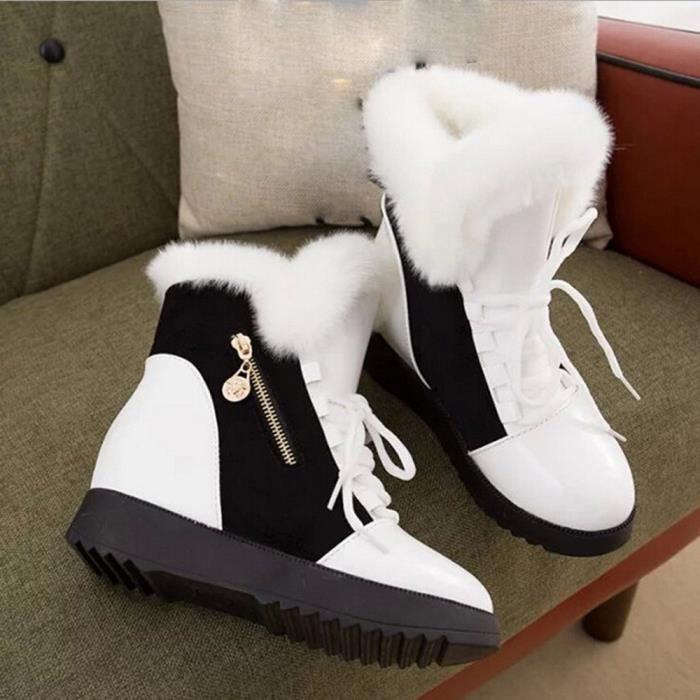 Femme Bottines D'hiver De blanc Doux Chaussures Bottes Neige pansy Rond Bout Chaussures Plat Fourrure 6dqZgxngwv