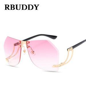 5bd8d42f8ce02 RBUDDY Lunettes de soleil sans monture oversize femmes coupe verres  dégradés Designer originale lunettes de soleil femmes montures