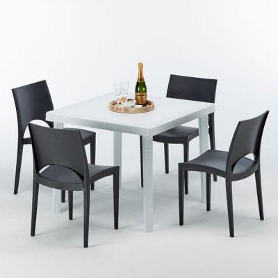 Table carrée et 4 chaises Poly rotin resine colorées 90x90 blanc - Chaises  Modèle:Paris Noir anthrac