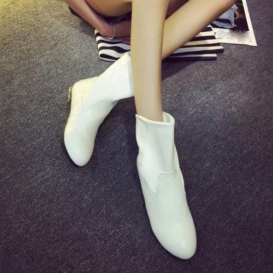 Spentoper Mode d'hiver Mi-mollet Femmes Bottes Flats Talons demi-Automne Chaussures de neige@blanc Blanc Blanc - Achat / Vente botte