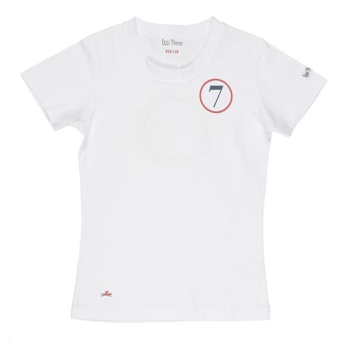 EQUI-THEME T-shirt d'équitation Galop 7 - Enfant - Blanc