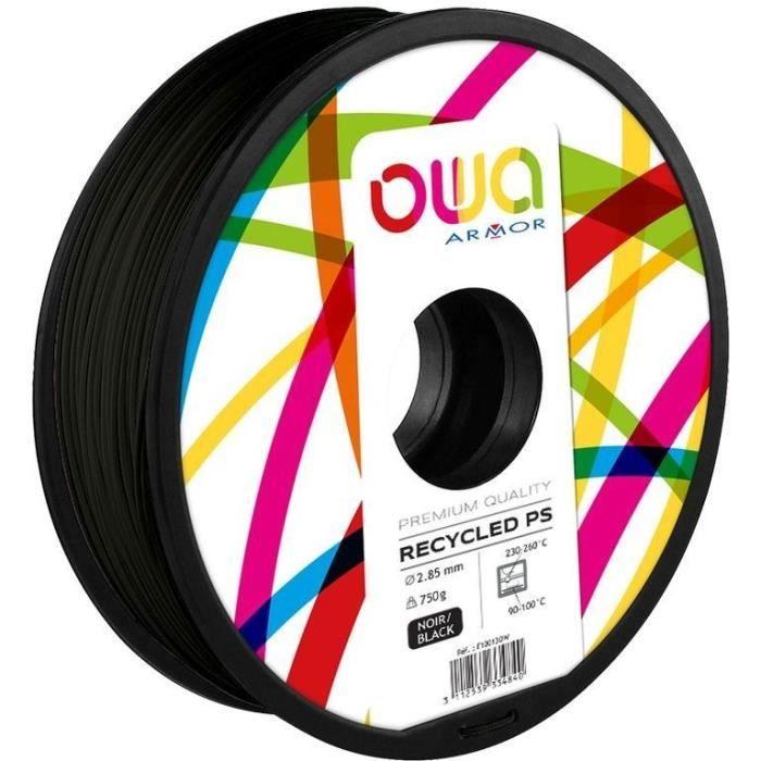 OWA Bobine de Filaments pour imprimante 3D - PS- Noir