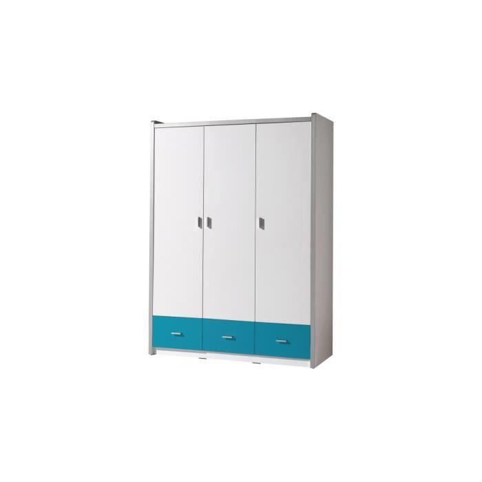 Armoire enfant laqué blanc et bleu turquoise 3 portes 3 tiroirs ...