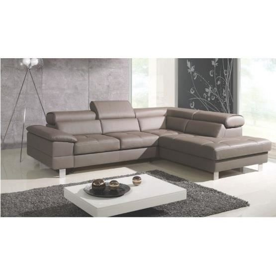 Canape Angle Cuir Taupe