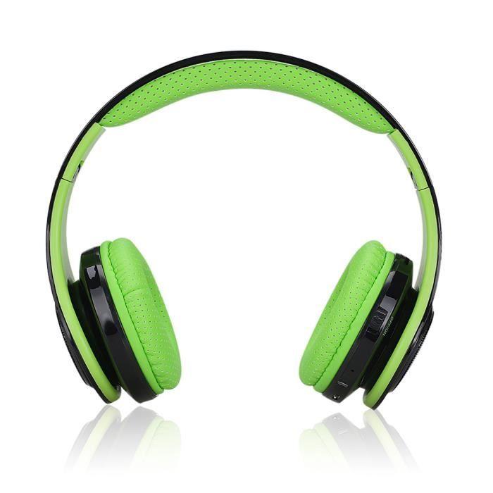 Excelvan Casque Bluetooth Pliant Sans Fil Led Stéréo Réglables Classiques, Grande Basse Lourde, Radio Fm / Carte Tf Vert