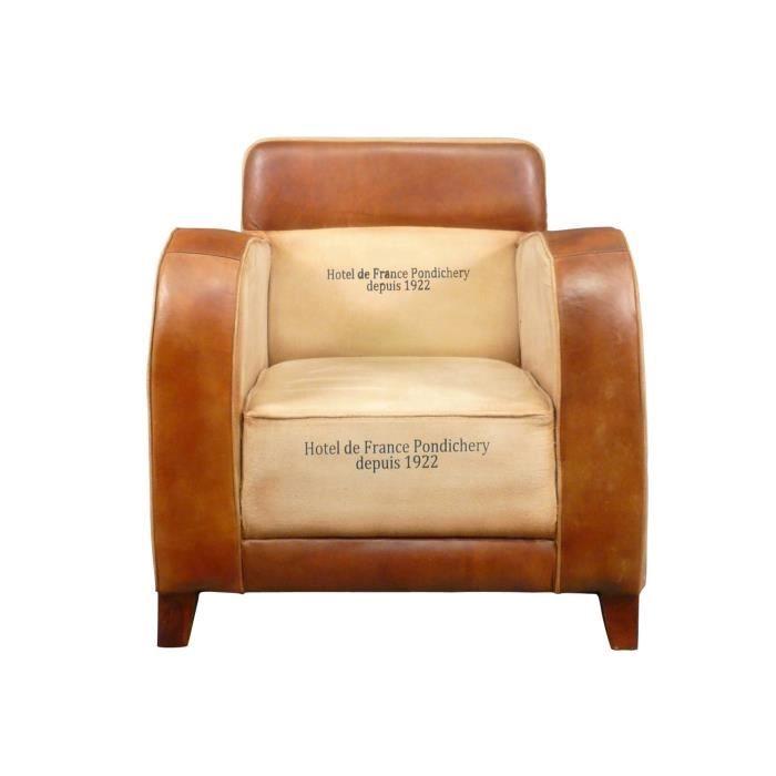 Fauteuil club vintage en cuir et tissu art d co achat for Les fauteuils en cuir