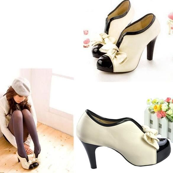 Chaussures à talons hauts Sexy Lady Beige Bow plate-forme femmes