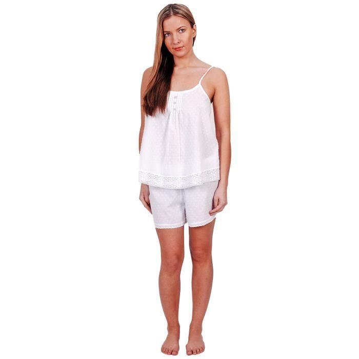 277c840179f1d ... Blanc - Taille : L. PYJAMA Pyjama Femme SAHARA satin de coton - Sensei  La Mai