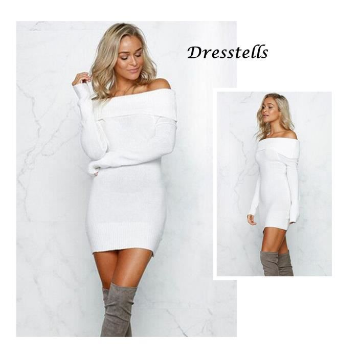 c792eaa27c1 Robe Pull Femme Dresstells Manche Longue Souple Slim casual pull en ...