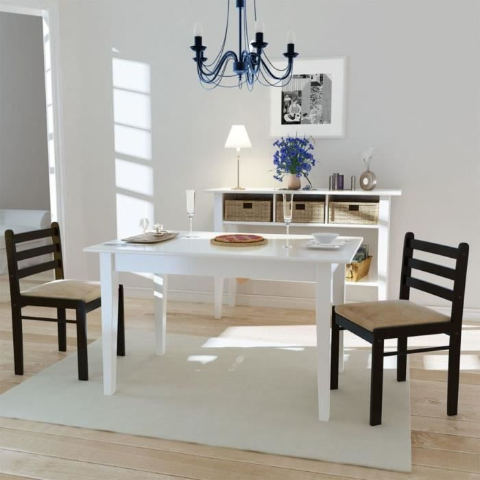 Etonnant Chaise De Salle à Manger Meuble Chaise De Salon Cuisine 2 Pcs Carrée Bois  44 X 45 X 81 Cm Marron