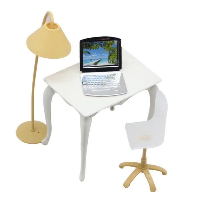Jouet Portable Enfants Barbie Lampe Meubles Fille Chaise Pour Dollhouse Ordinateur Bureau Accessoires SpMUzVq