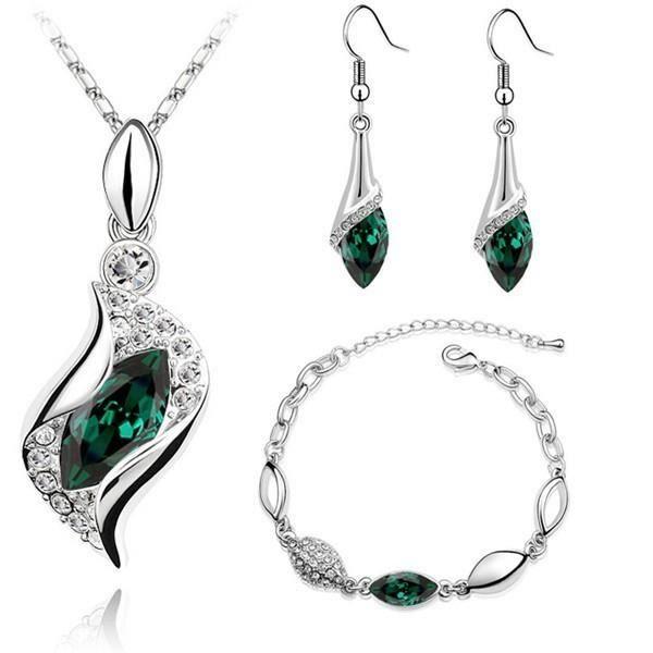 Parure océan cristal swarovski elements avec bracelet plaqué or blanc Couleur Vert
