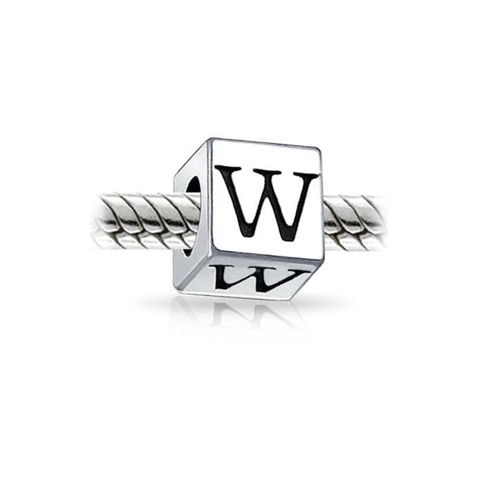 925 Argent Sterling Bloc Lettre W Pugster Charm