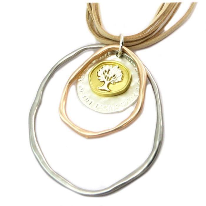 Collier Sautoir Créateur Arbre de Vie argenté beige - 95x75 mm [P7584]