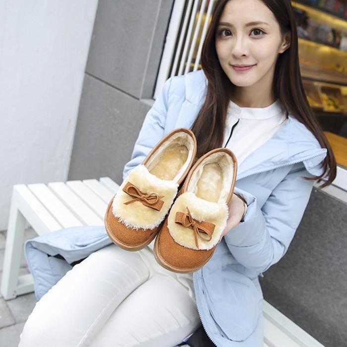 Mode Chaud Chaussures Bottes Hiver Bowknot Neige Appartements De Femmes marron Automne wHdZ7qHz